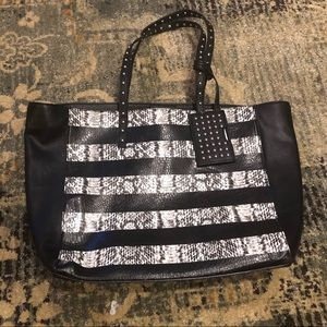 Nine West | Striped Snake Print Tote